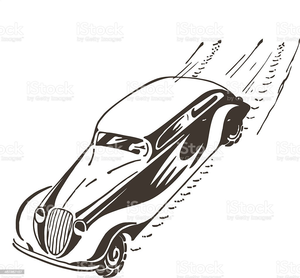 Old car racing at high speed. royalty-free stock vector art