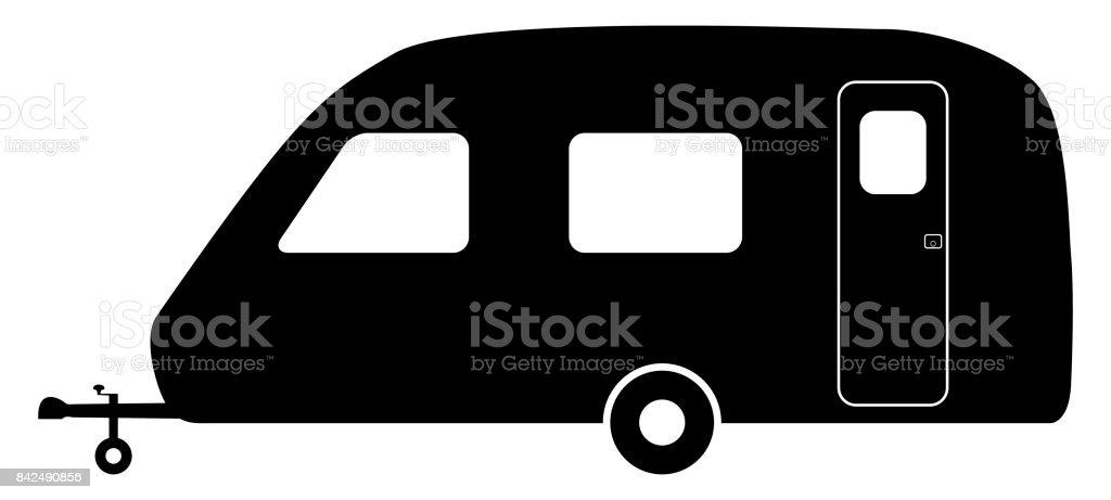 Old Caravan Silhouette vector art illustration