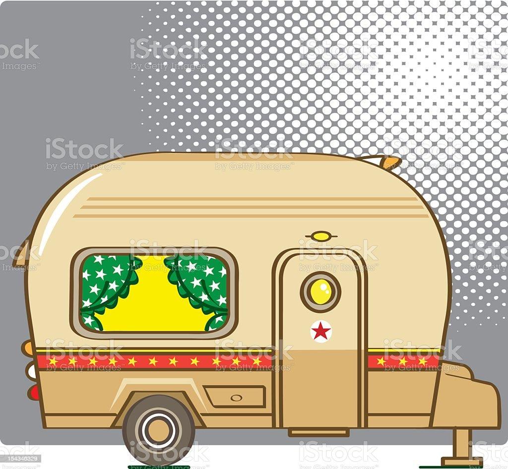 old caravan vector art illustration