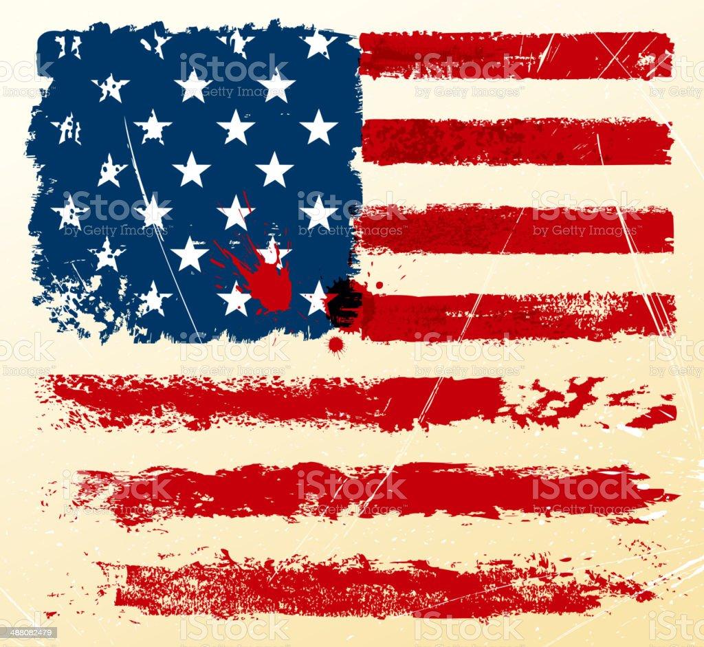old celebration flag vector art illustration