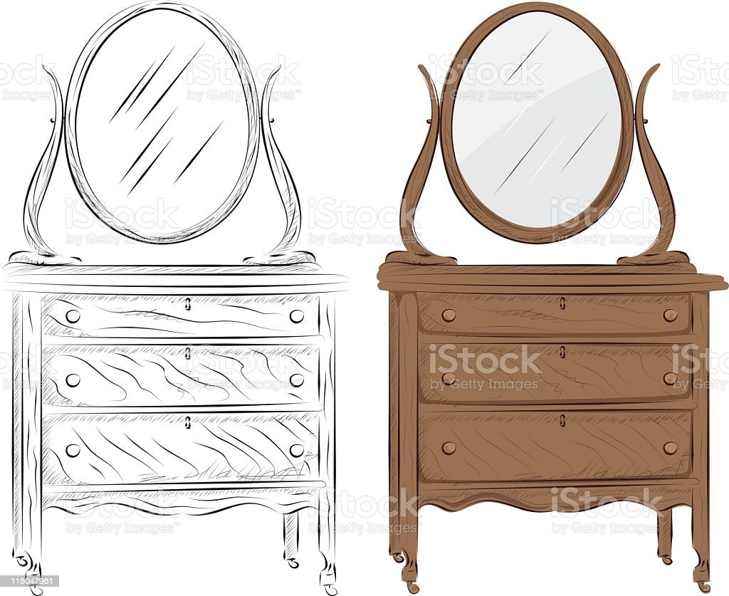 Old Chest of Drawers royalty-free stock vector art