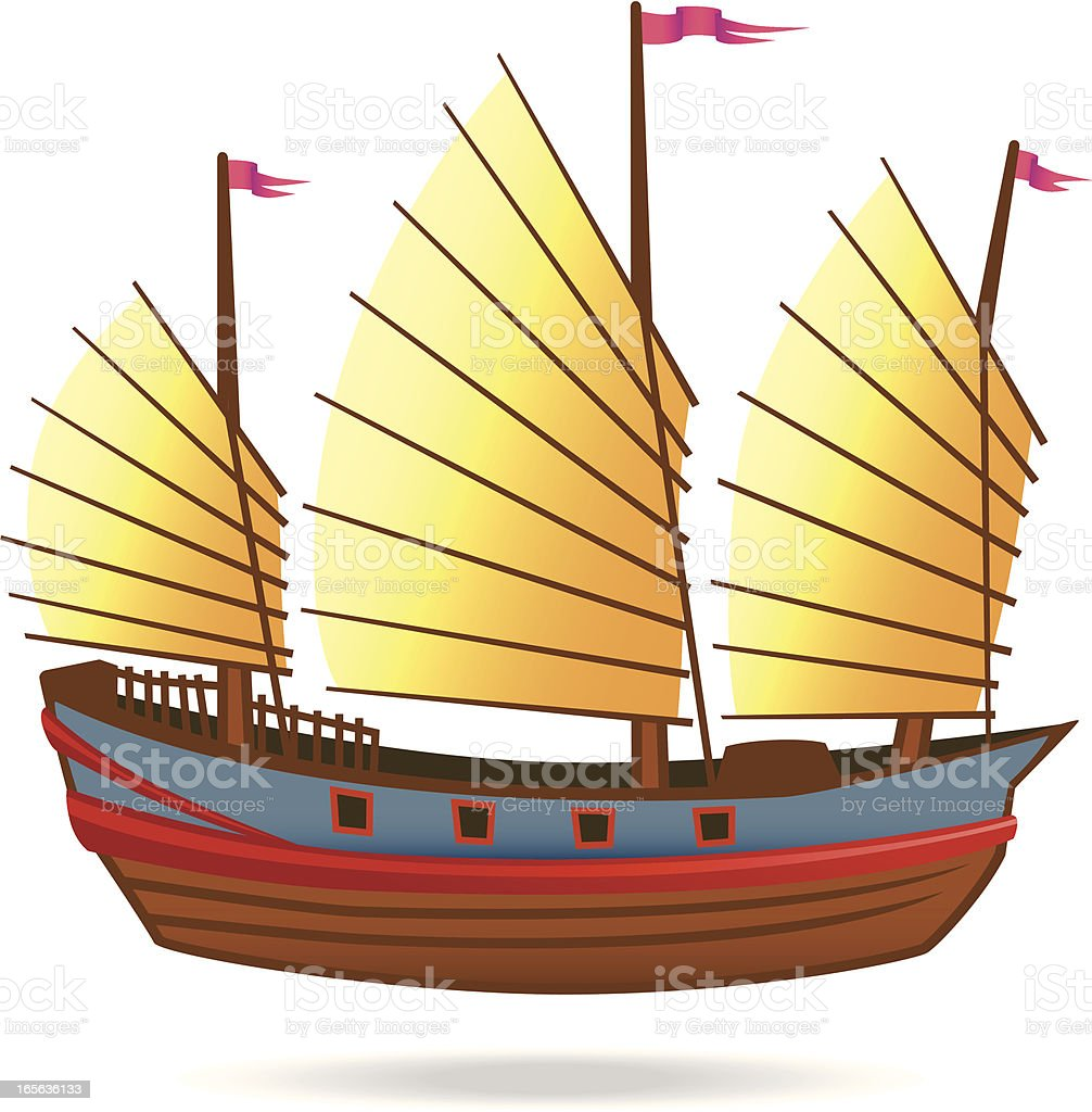 Old Chinese Junk royalty-free stock vector art