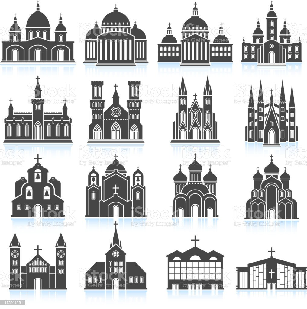 Old Church and Cathedral black & white set vector art illustration