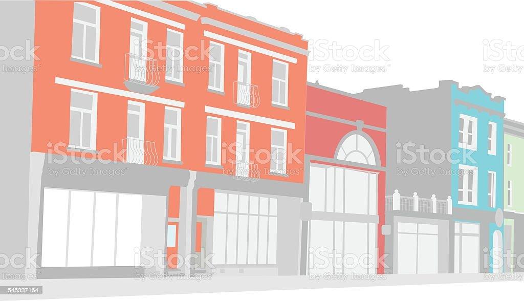 Old City Building Street vector art illustration