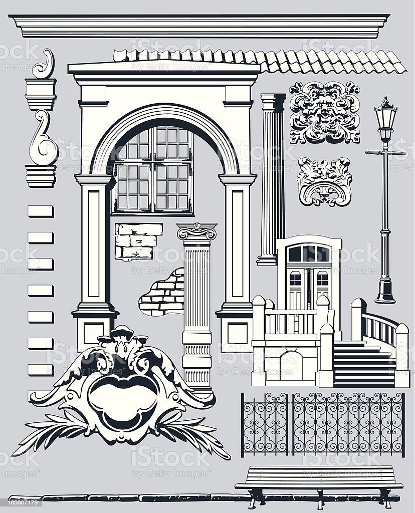 Old City Elements II vector art illustration