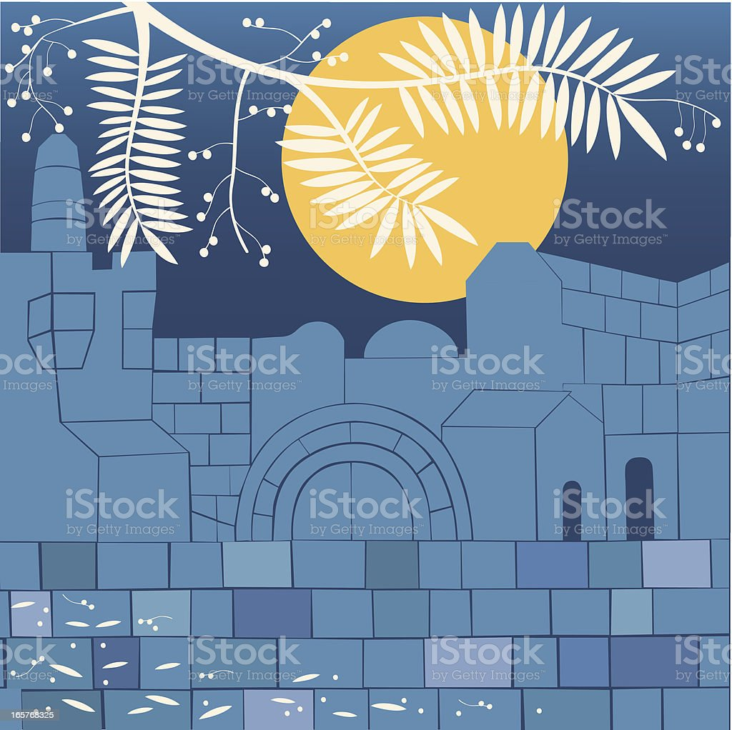 Old City Silhouette With Full Moon And Branch Of Acacia royalty-free stock vector art