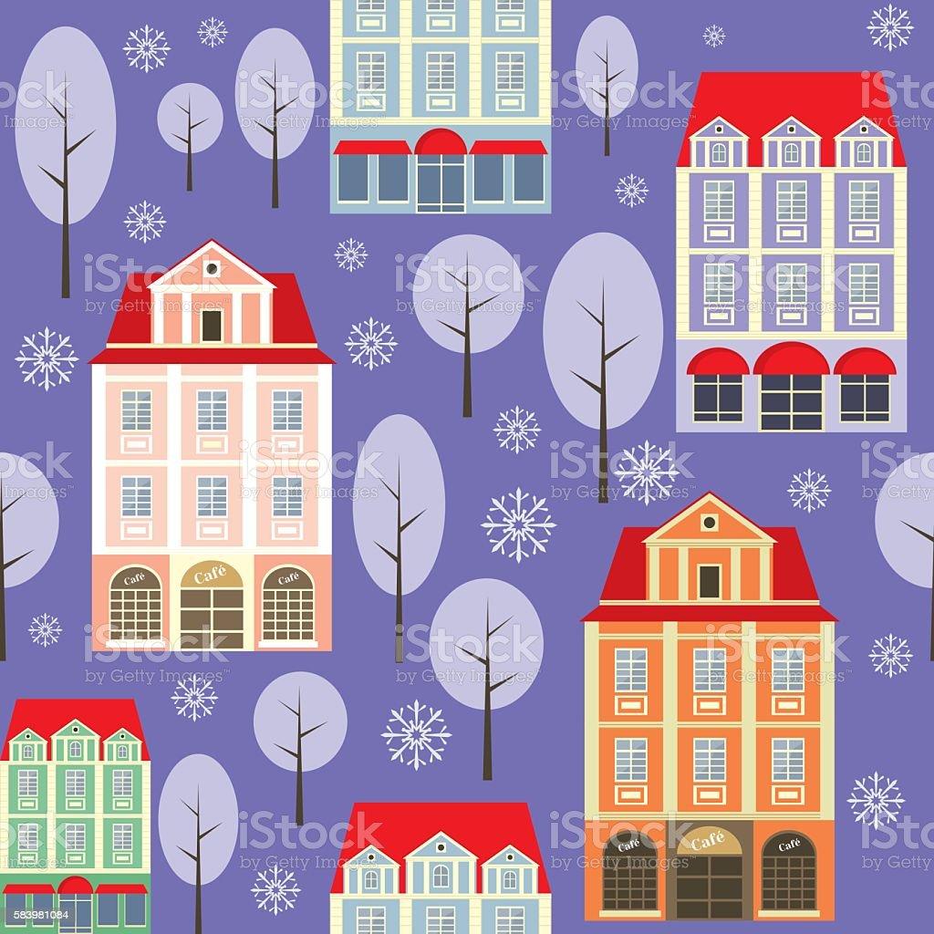 old city winter pattern vector art illustration