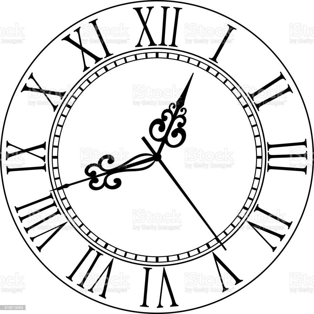 Old clock face with Roman numerals vector art illustration
