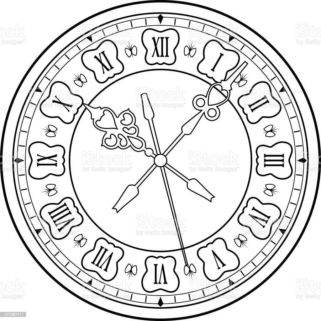 Old clock vector art illustration