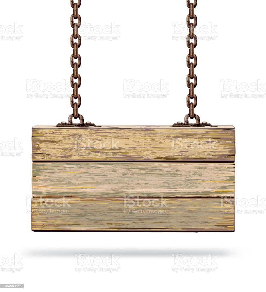 Old color wooden board with rusty chain. vector art illustration