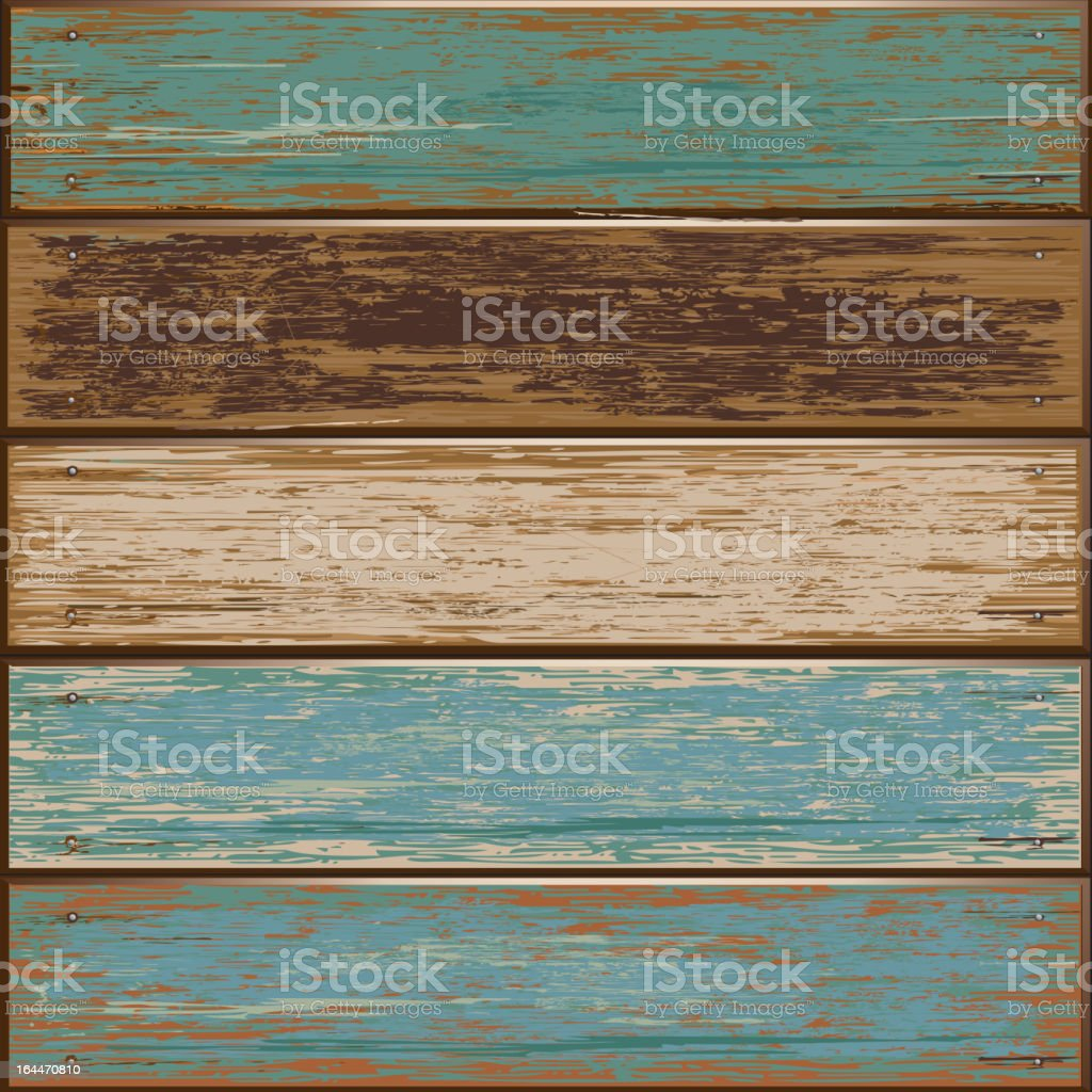 Old color wooden texture background. vector art illustration