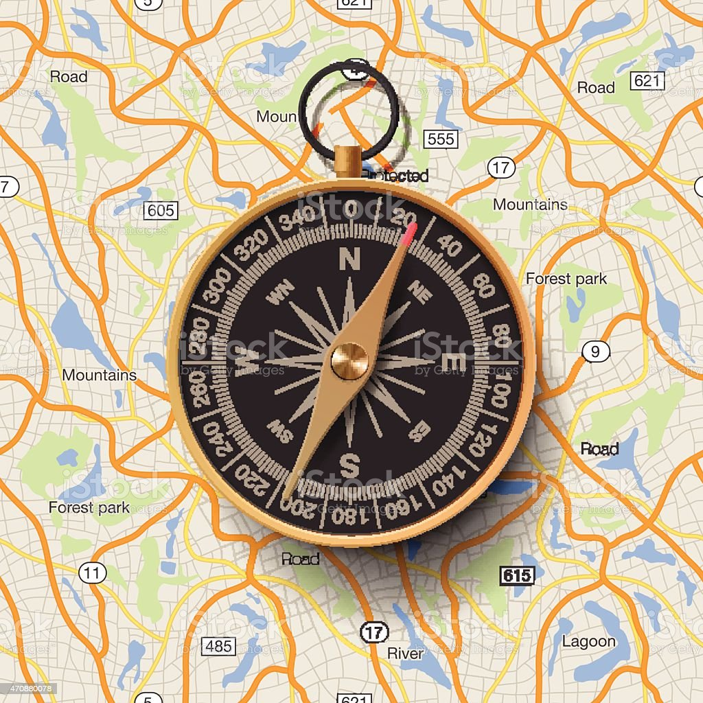 Old compass on map background vector art illustration