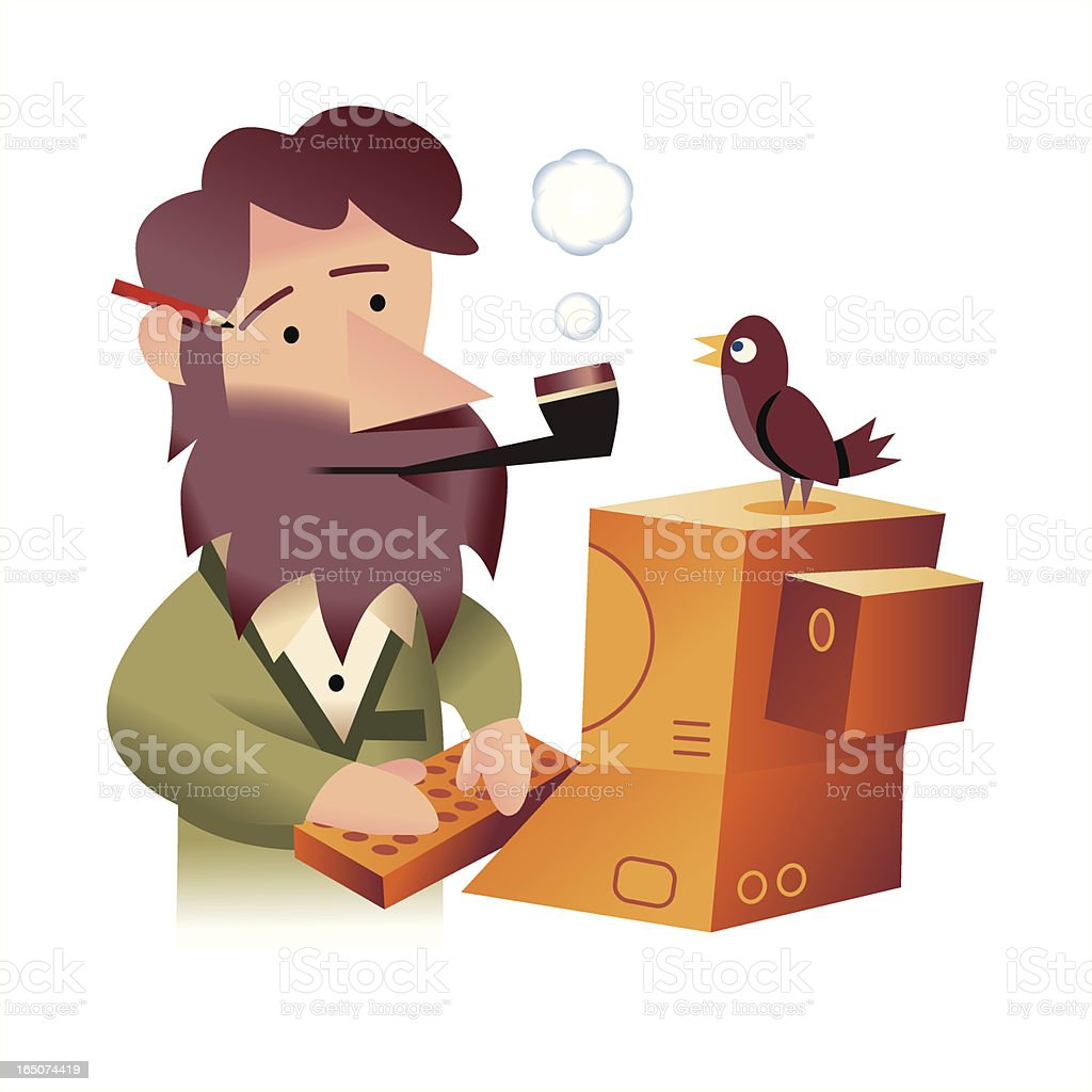 Old Computer Man royalty-free stock vector art