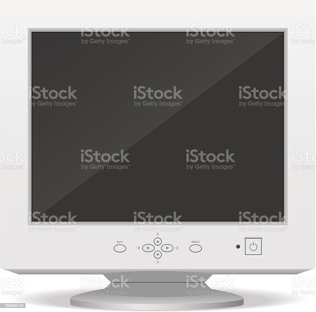 Old computer monitor vector art illustration
