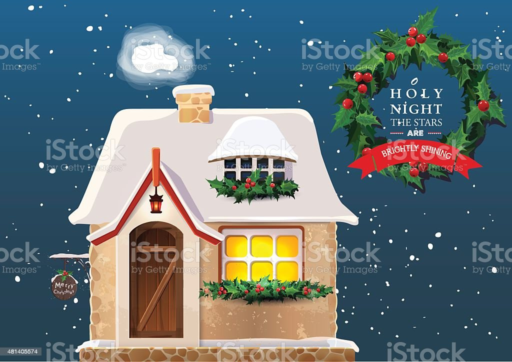 Old cottage covered in snow vector art illustration