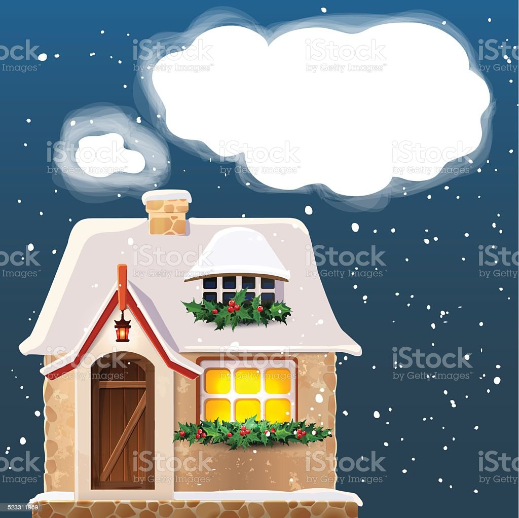 Old cottage covered in snow.Eps 10. vector art illustration