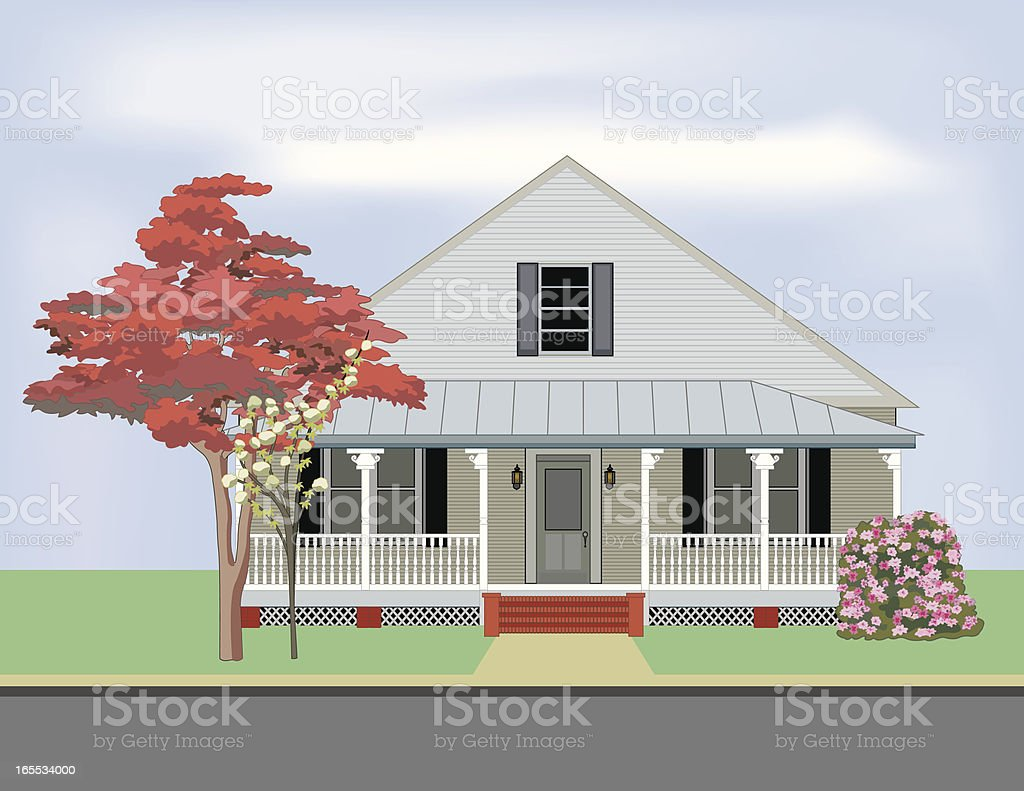 Old Country House vector art illustration