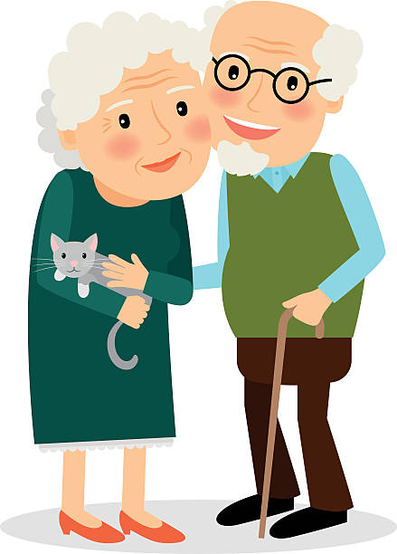 Cartoon Of A Two Old People Clip Art, Vector Images ...