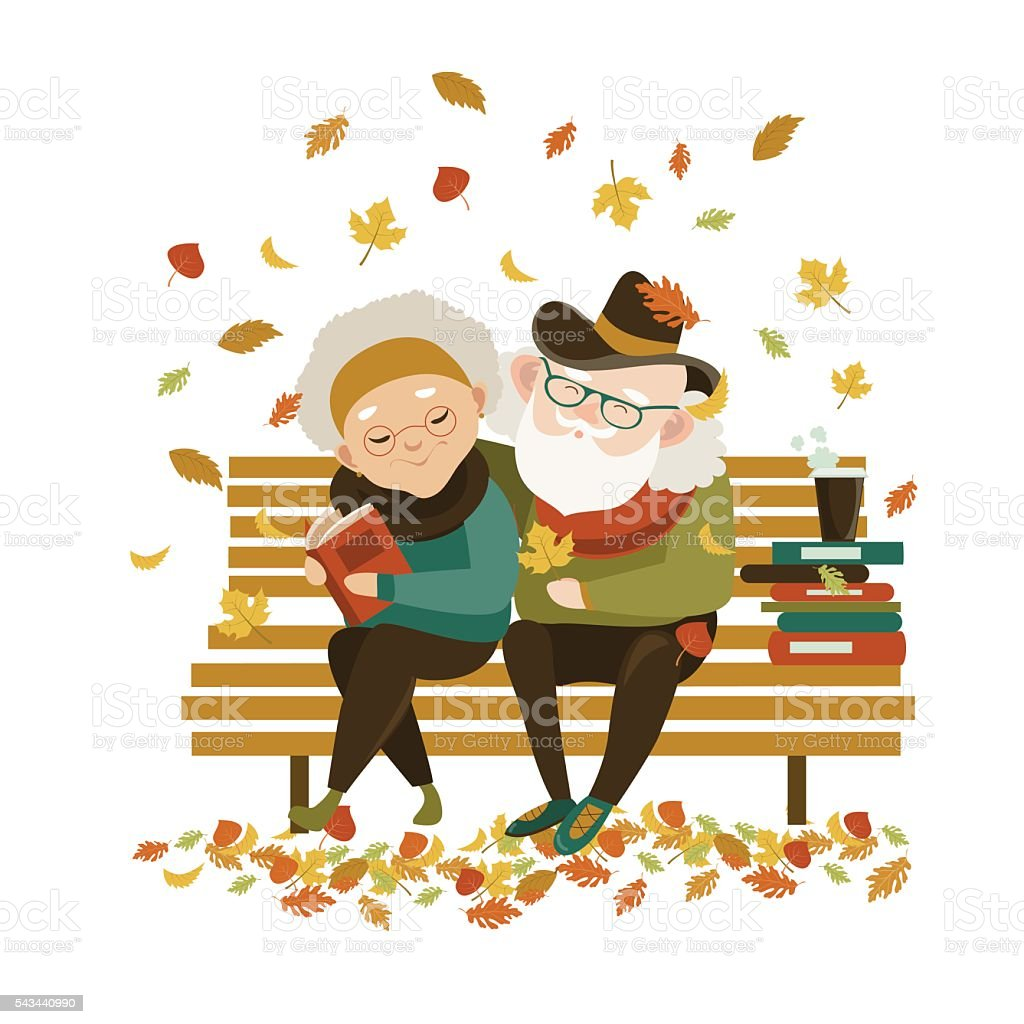 Old couple in love sitting on bench vector art illustration