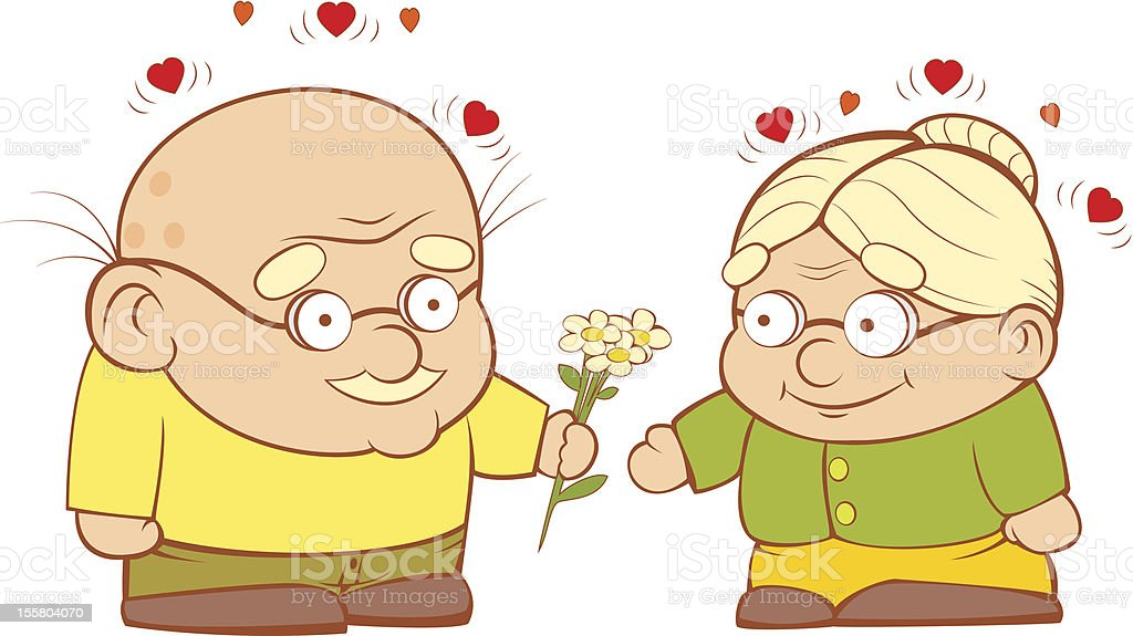 Old couple in love royalty-free stock vector art
