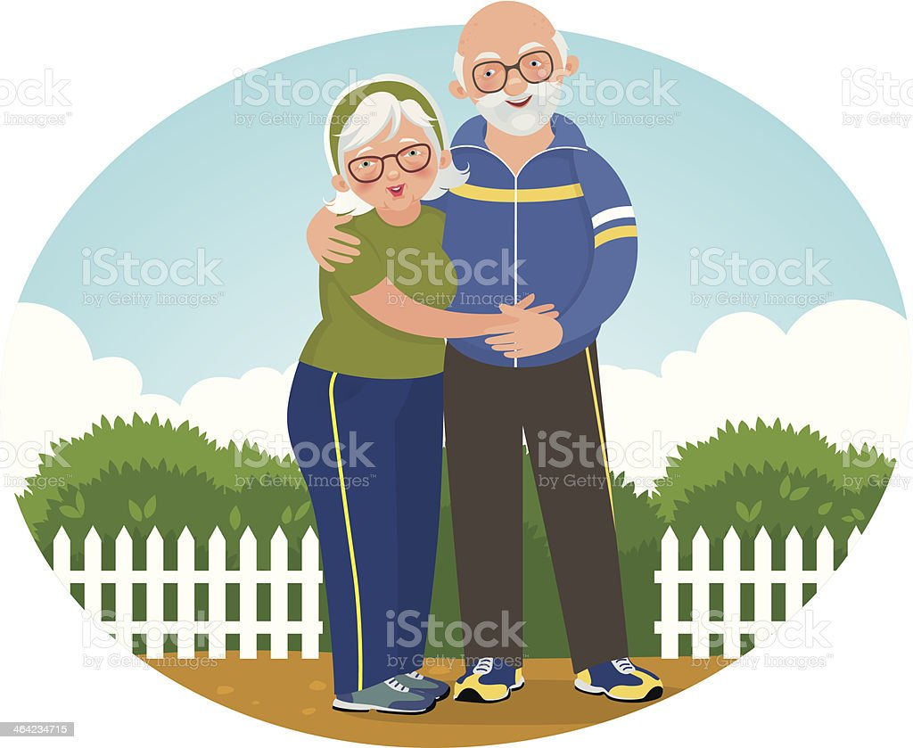 Old couple in track suits vector art illustration