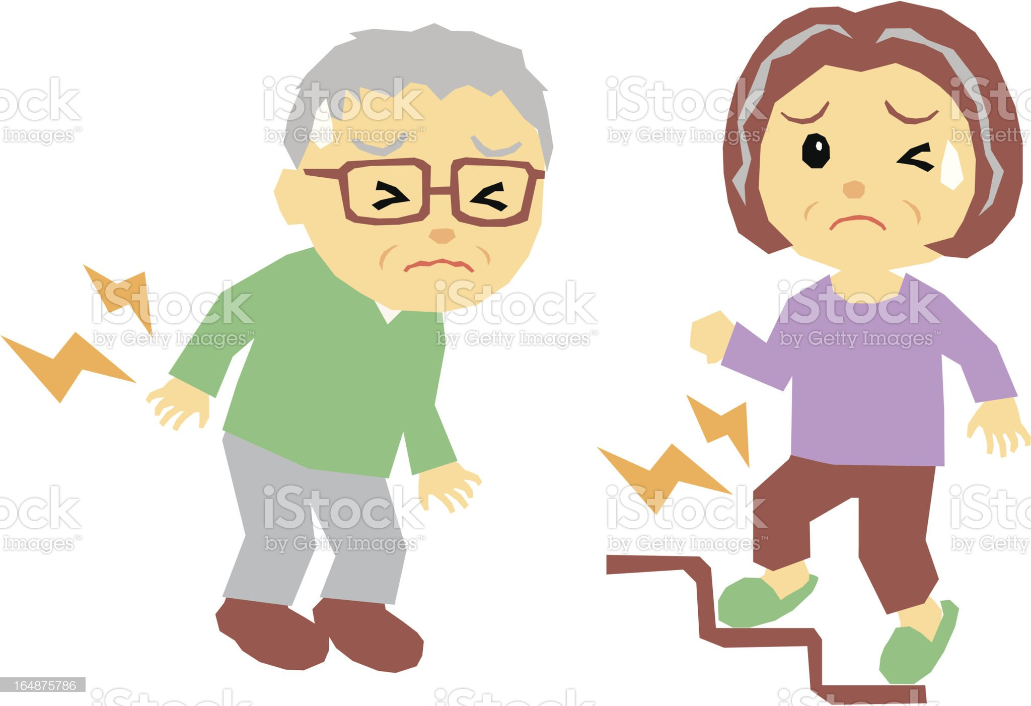 old couple, pain royalty-free stock vector art