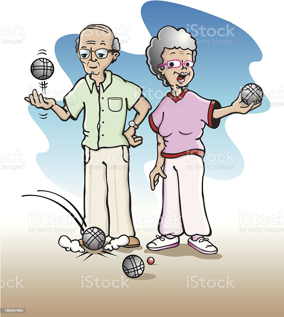 Old couple playing bowls (p?tanque) vector art illustration