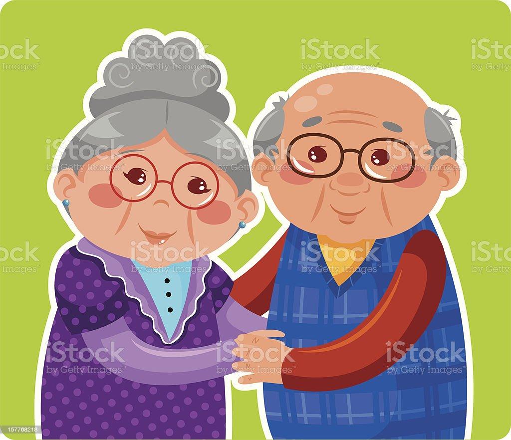 old couple vector art illustration