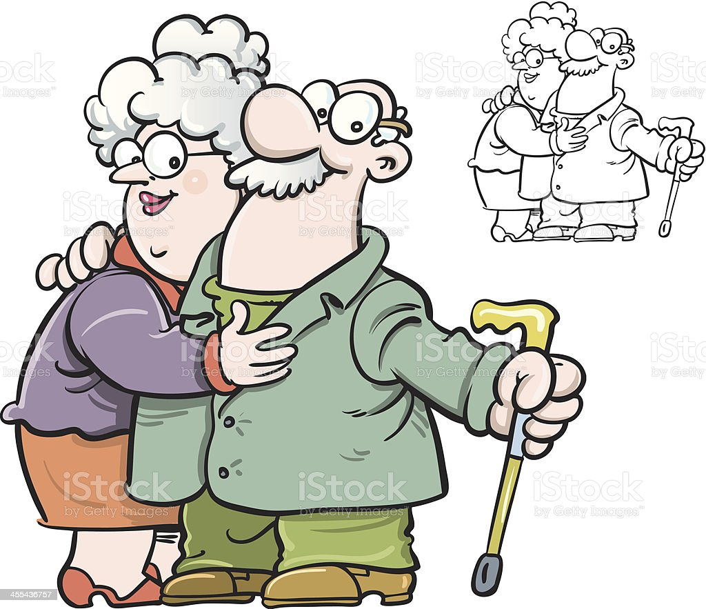 Old couple vector art illustration