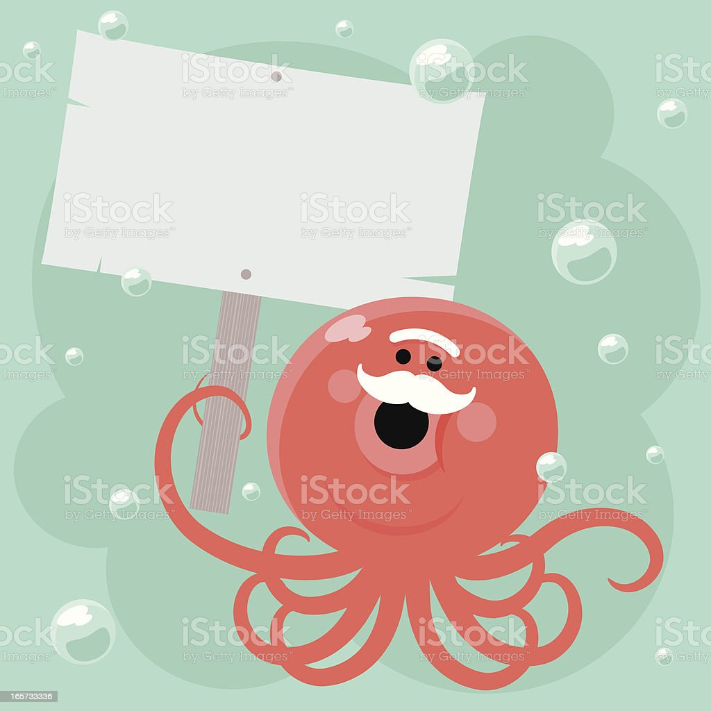 Old Cute Octopus Holding A Blank Sign vector art illustration