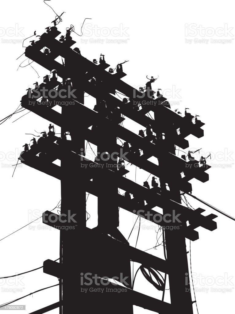 Old decrepit wooden telephone pole on  white background. Vector vector art illustration