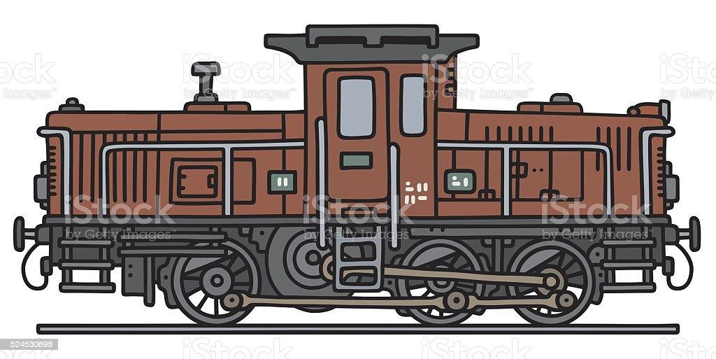 Old diesel locotractor vector art illustration
