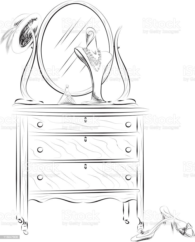 Old Dresser with Accessories vector art illustration