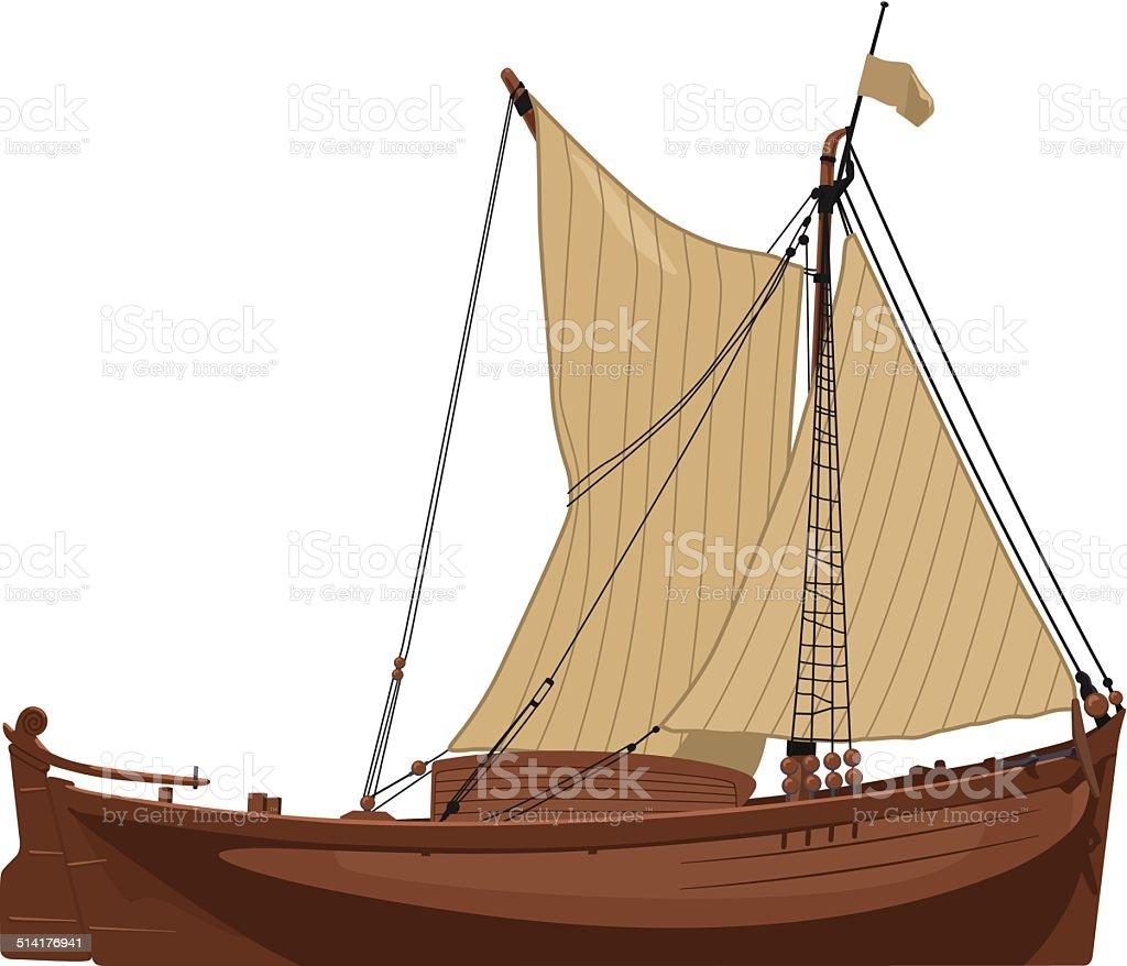 old Dutch boat vector art illustration