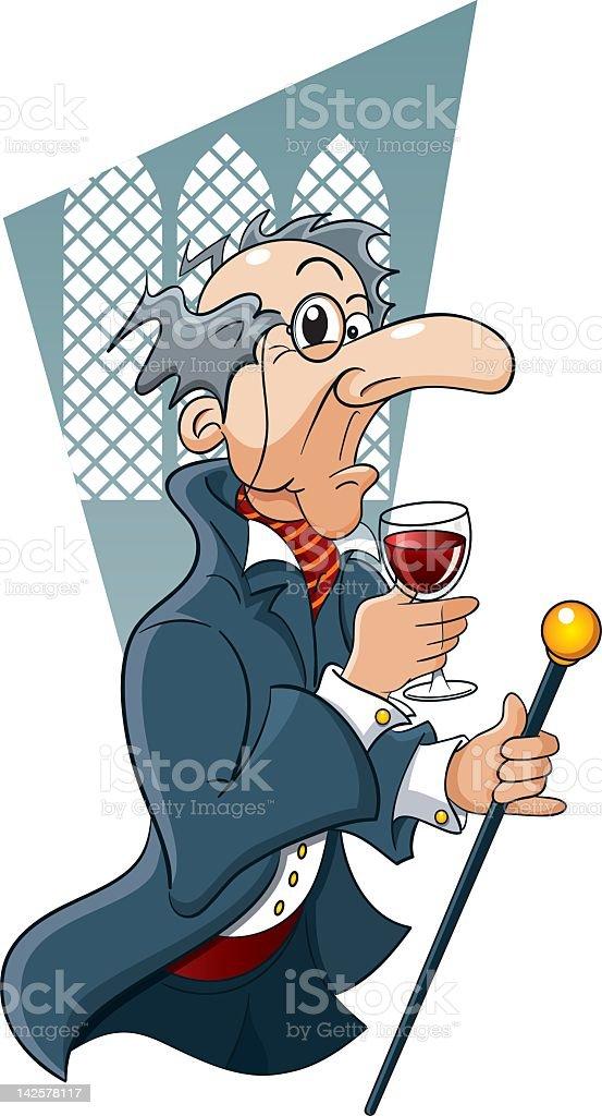 Old Eccentric Man Drinking Vintage Wine vector art illustration