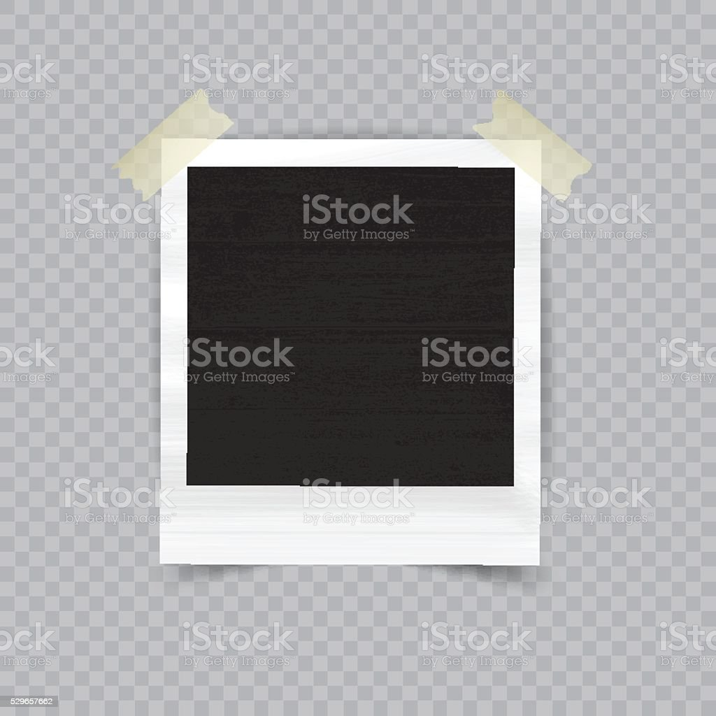 Old empty realistic photo frame vector art illustration