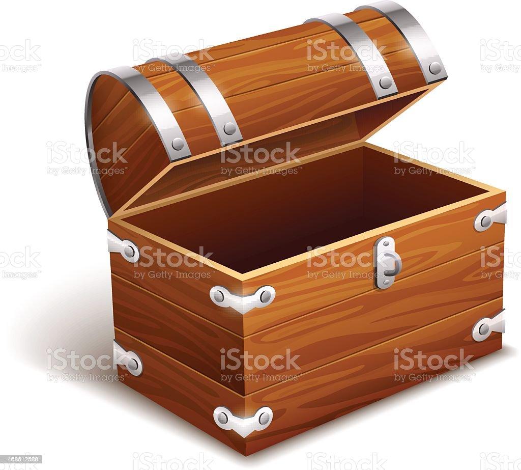 Old empty vintage wooden trunk vector art illustration