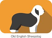 Old English Sheepdog breed flat icon design