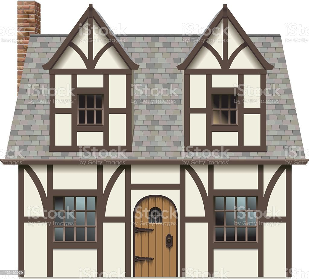 Old English Tudor Home vector art illustration