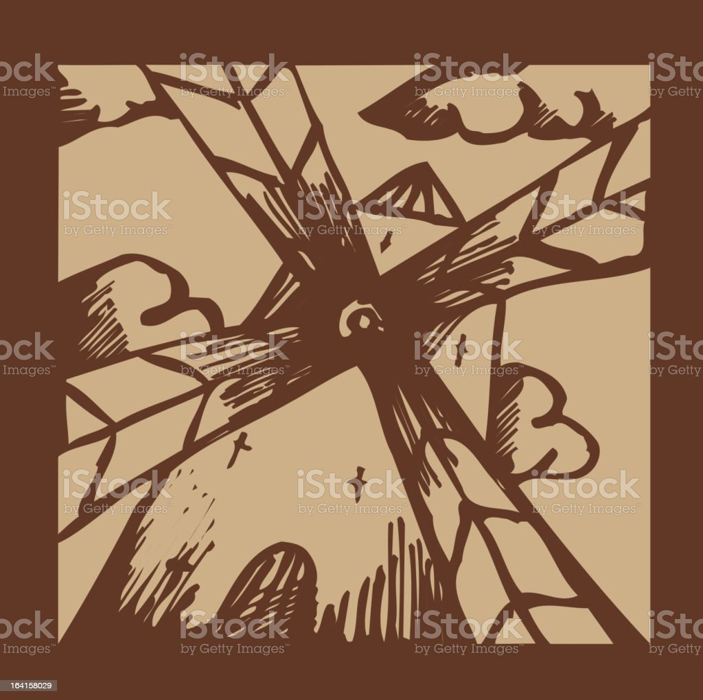 old etched windmill royalty-free stock vector art