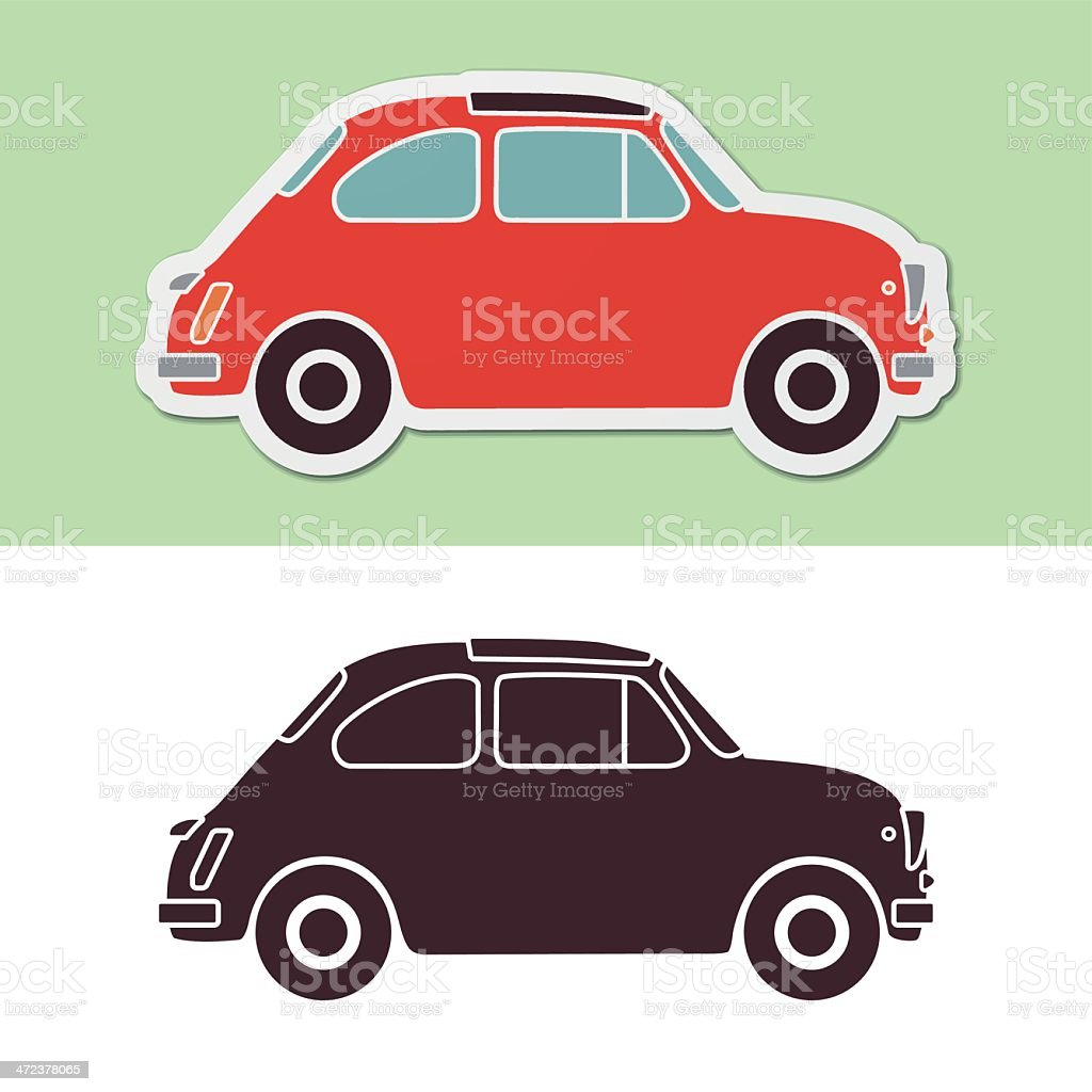Old fashion italian car vector art illustration