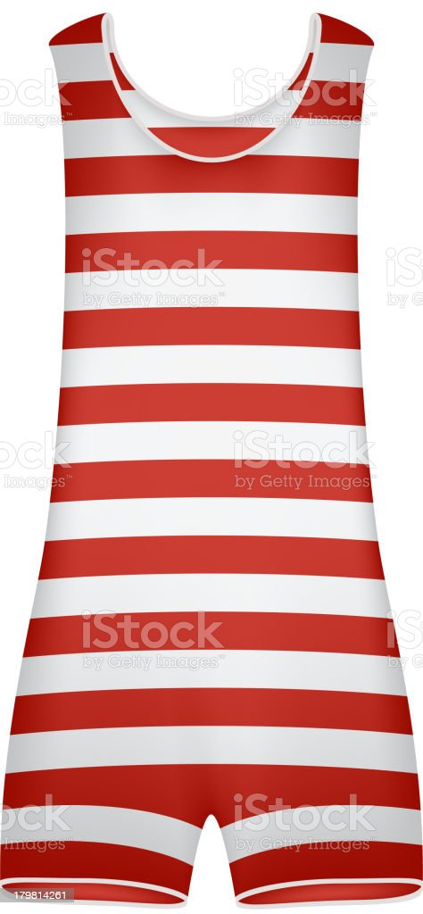 Old fashion red and white striped swimsuit  vector art illustration