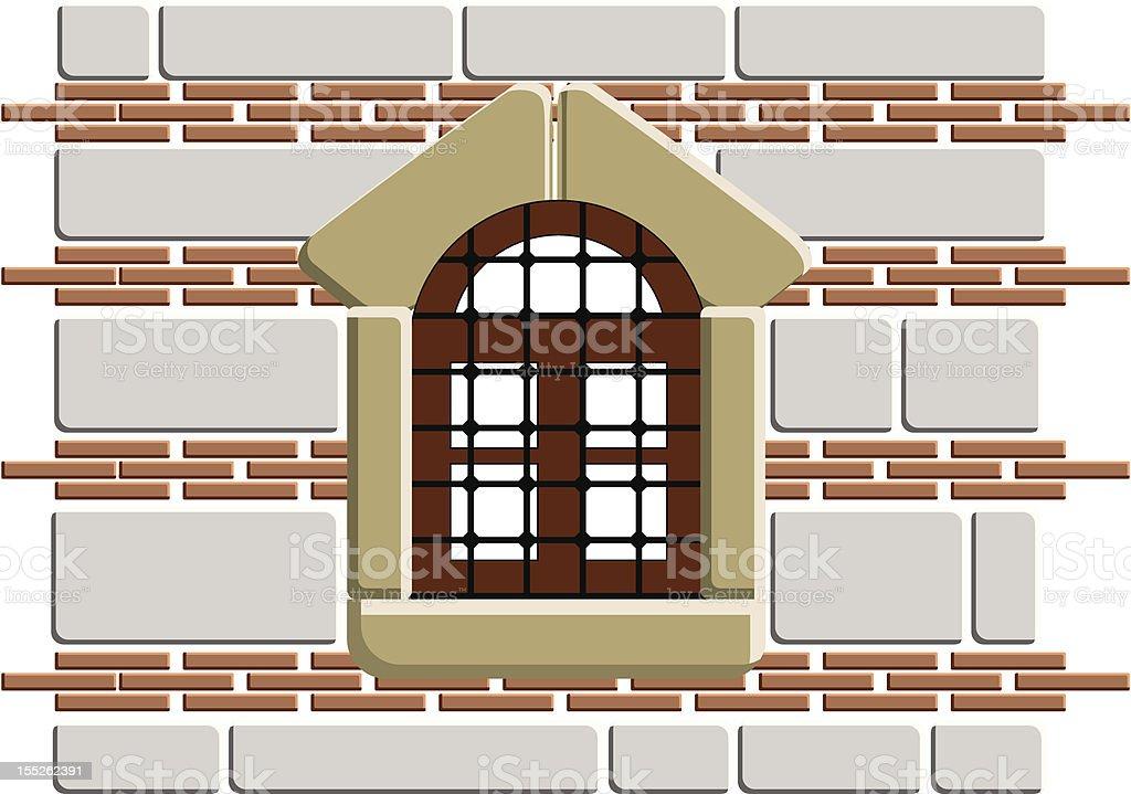 Old fashion wall window vector art illustration