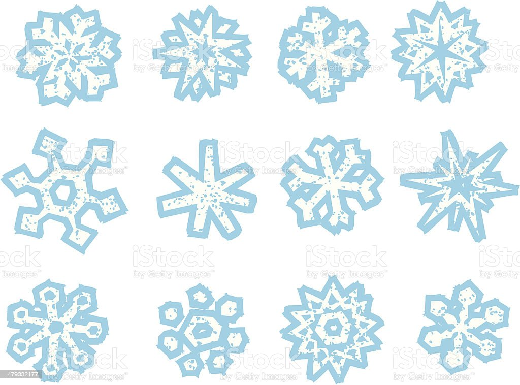 Old Fashion Woodcut (Wicked Worn) Style Snowflakes vector art illustration