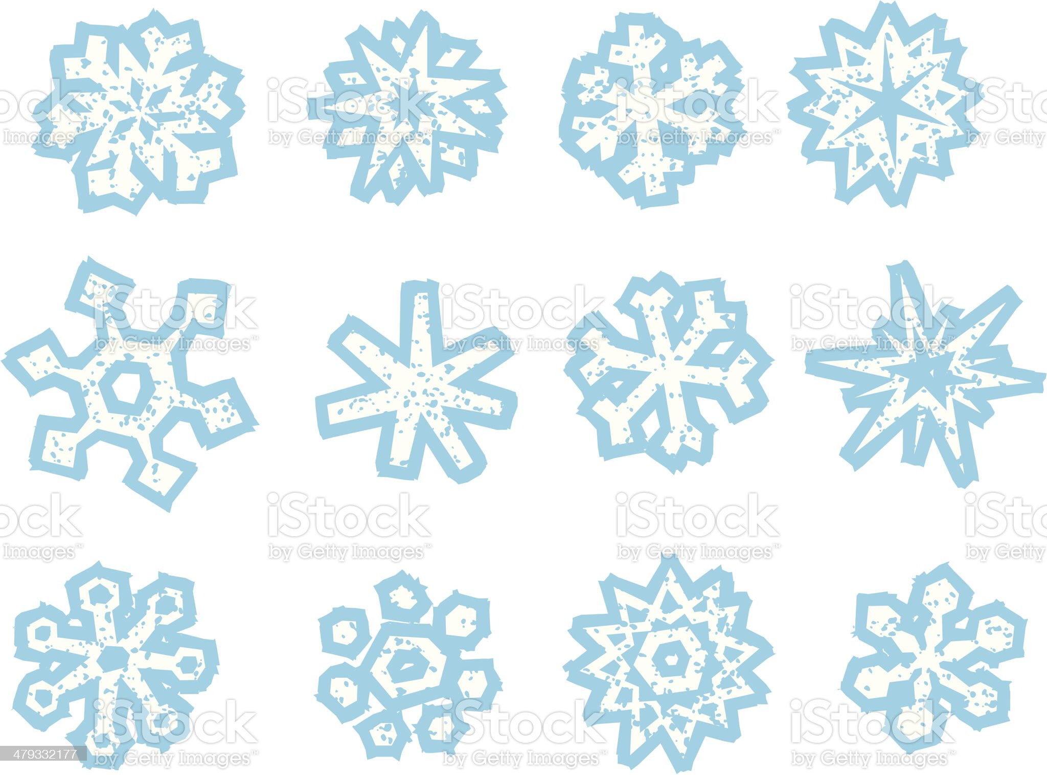 Old Fashion Woodcut (Wicked Worn) Style Snowflakes royalty-free stock vector art