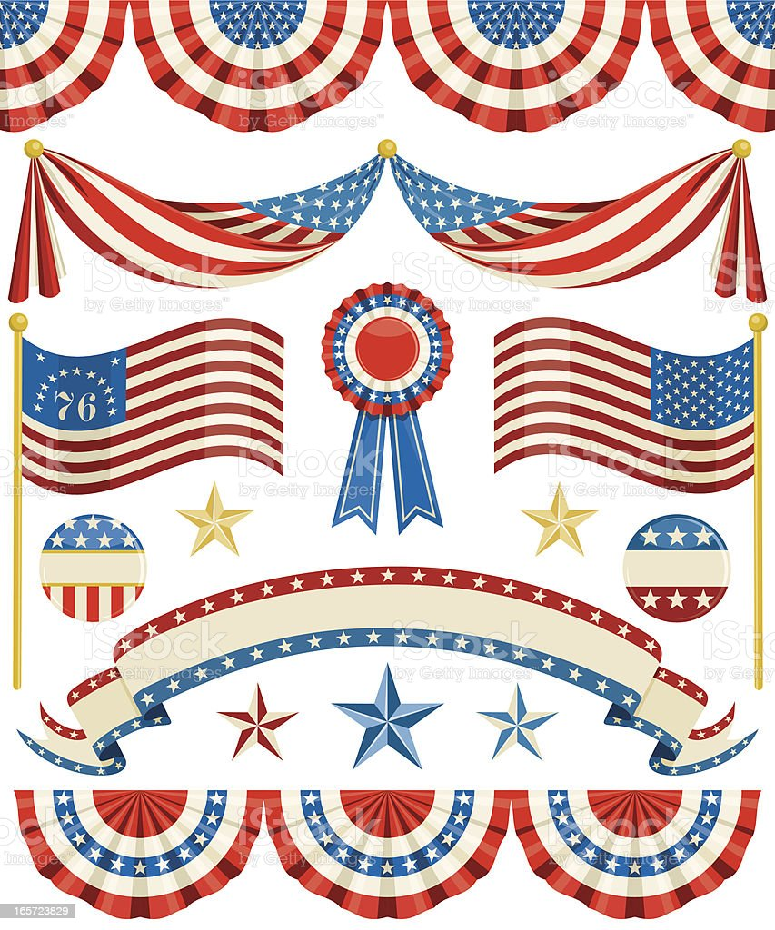 Old Fashioned American Bunting vector art illustration
