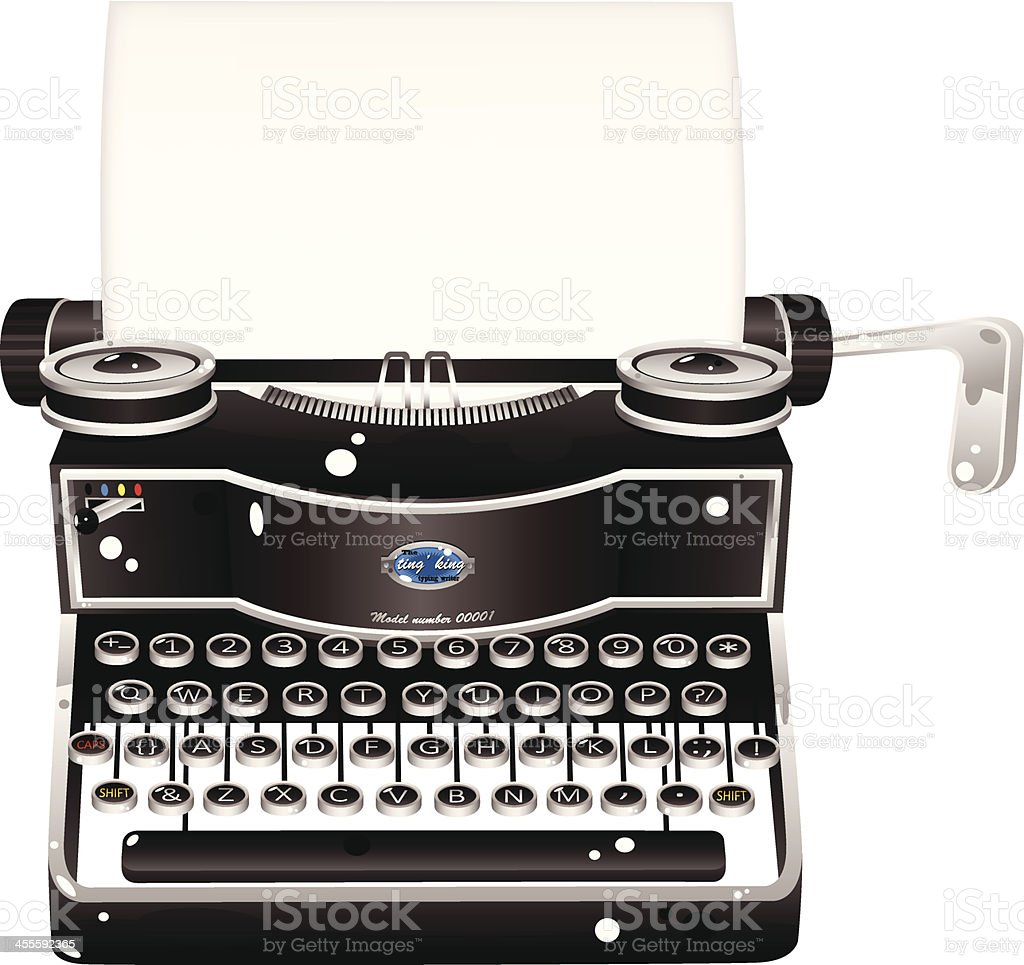 Old fashioned antique typewriter vector art illustration
