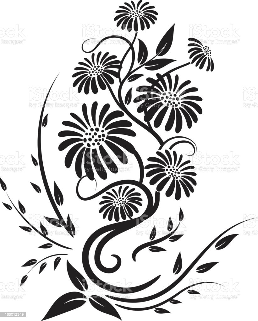 Old Fashioned Black Calligraphic Floral Element vector art illustration