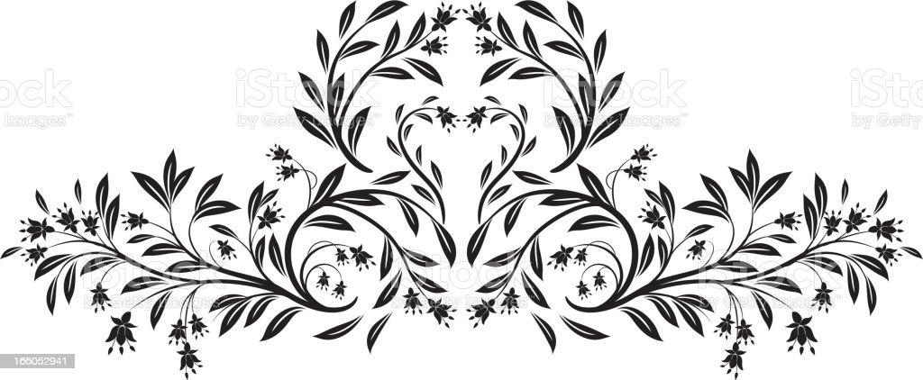 Old Fashioned Black Calligraphic Floral Element vector art illustration