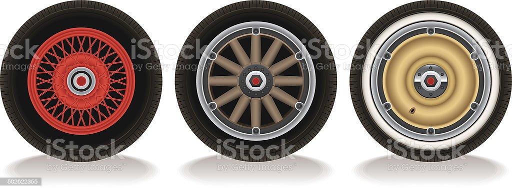 Old Fashioned Car Wheels vector art illustration